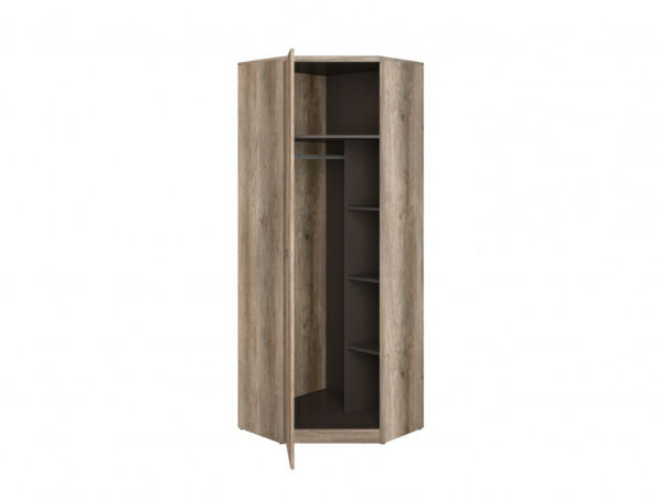 Ъглов гардероб в дървесен цвят Малкълм - разпределение
