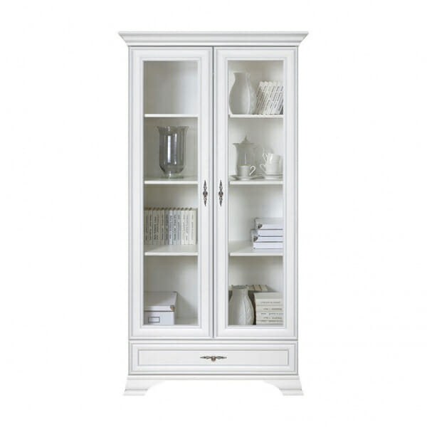 Висок бял шкаф с 2 стъклени врати Иденто