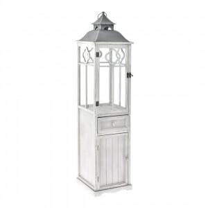 Висок дървен фенер с шкаф и чекмедже в сив цвят