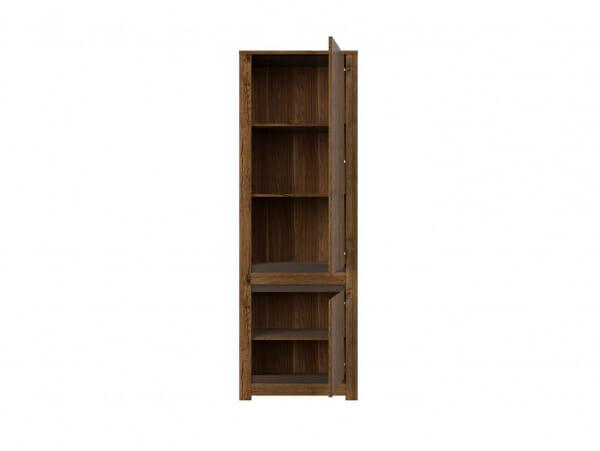 Висок шкаф с 2 вратички в дървесен цвят Када - десни панти