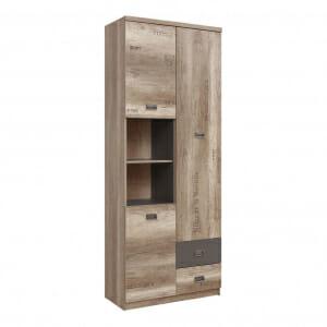 Висок шкаф с открити рафтове и чекмеджета Малкълм