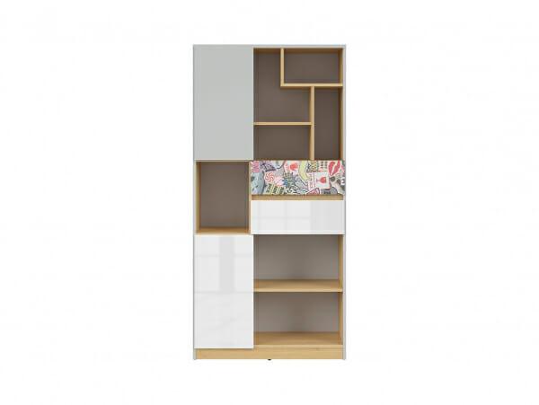 Висок шкаф с открити рафтове и детайл комикс Нанду - отпред