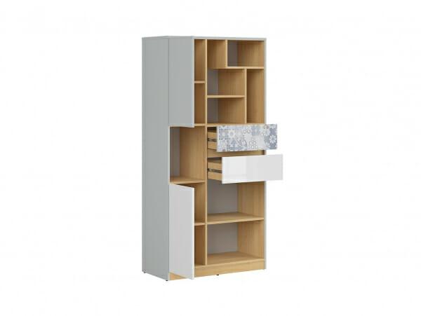 Висок шкаф с открити рафтове и флорални детайли Нанду - разпределение
