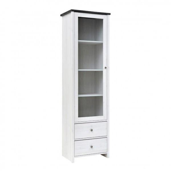 Висок шкаф витрина с 2 чекмеджета Порто