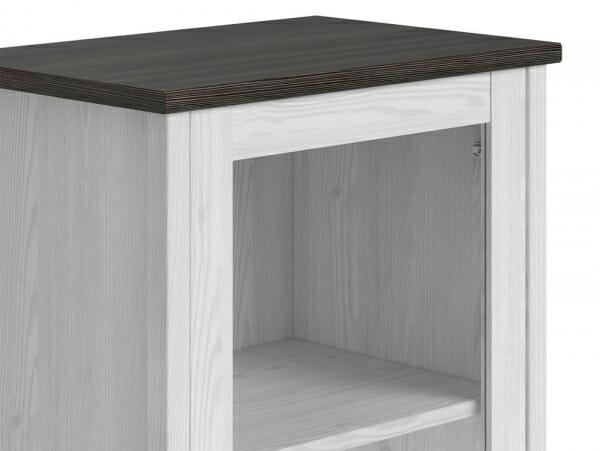 Висок шкаф витрина с 2 чекмеджета Порто - детайл горна част