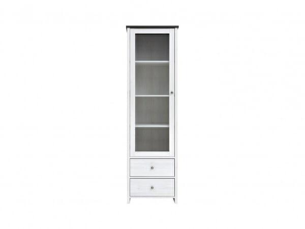 Висок шкаф витрина с 2 чекмеджета Порто - отпред