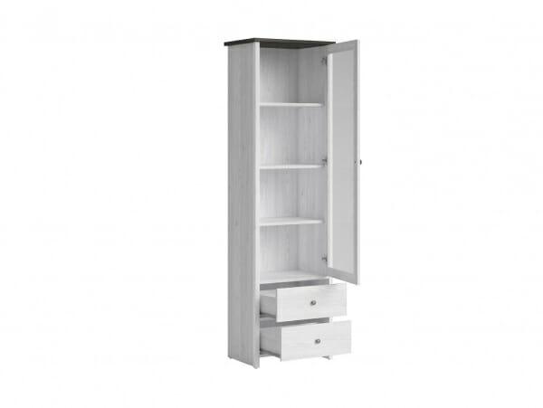 Висок шкаф витрина с 2 чекмеджета Порто - разпределение