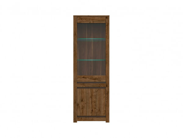 Висок шкаф витрина с LED осветление Када - отпред