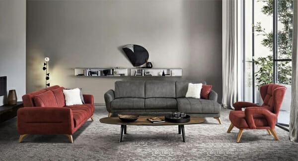 Ъглов разтегателен диван в сив цвят и дървени крачета-примерна подредба