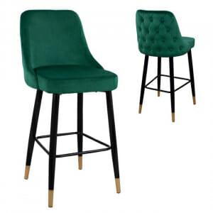 Бар стол от кадифе с метални крачета-зелен