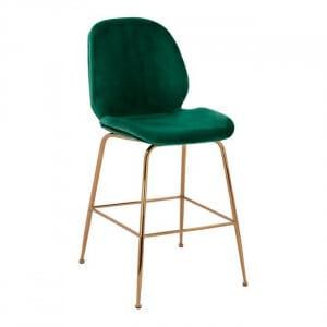 Бар стол с дамаска и основа в черно и златисто-зелен