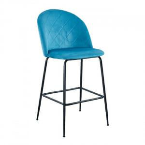 Бар стол с кадифе и черни метални крака в син цвят
