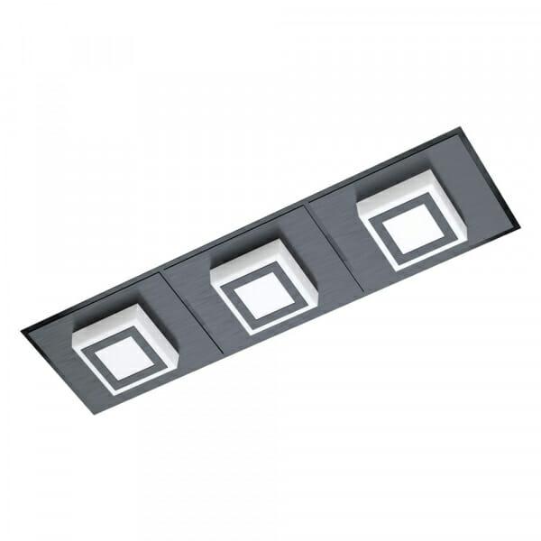 Черен LED плафон/аплик Masiano 1 с 3 тела