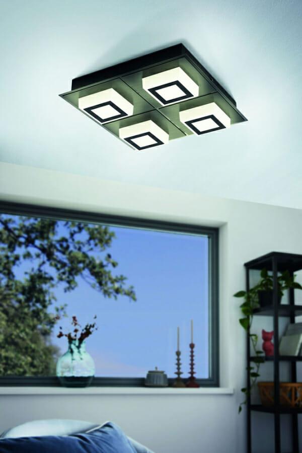 Черен LED плафон/аплик Masiano 1 с 4 тела - декор