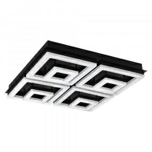 Черен LED плафон с кристали Fradelo 1 с 4 тела