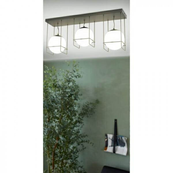 Черен плафон с 3 бели стъклени сфери Versuola - декор