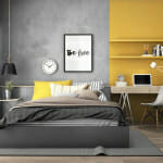 Спалня в сиво и жълто