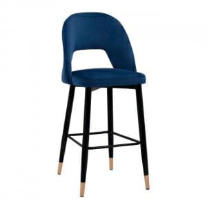 Кадифен бар стол с модерен дизайн и черни крачета-син