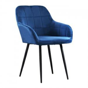 Кадифено кресло с подлакътници в син цвят