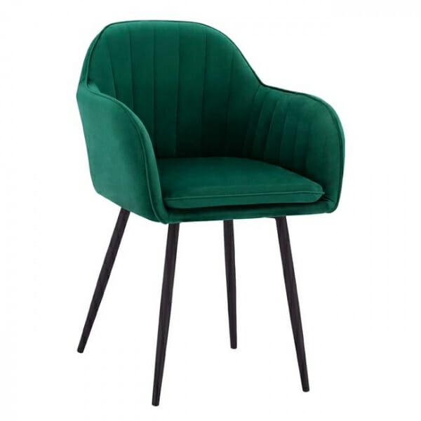 Комфортно кресло от кадифе с черни крачета - в зелен цвят