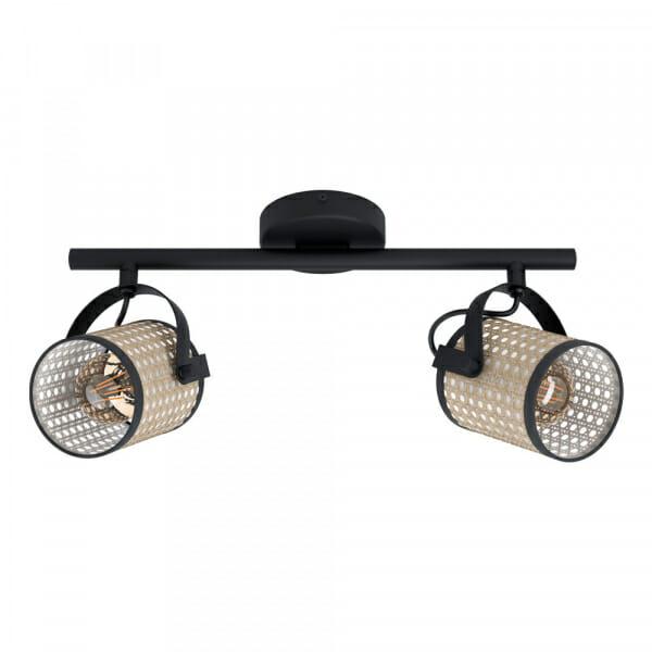 LED Спот с 2 тела и бежова плетеница Ruscomb