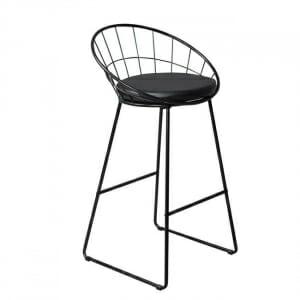 Метален бар стол с възглавничка Кай в черен цвят