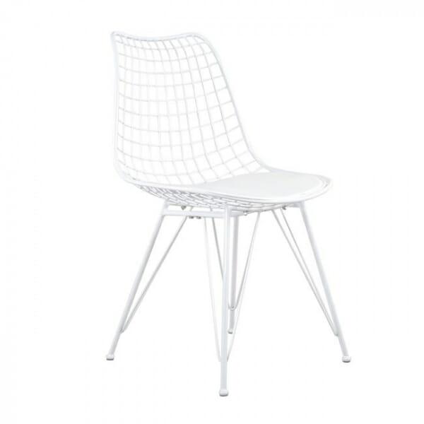 Метален стол с решетъчна конструкция в бял цвят