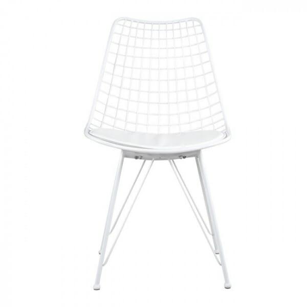 Метален стол с решетъчна конструкция в бял цвят - отпред