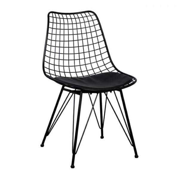 Метален стол с решетъчна конструкция в черен цвят