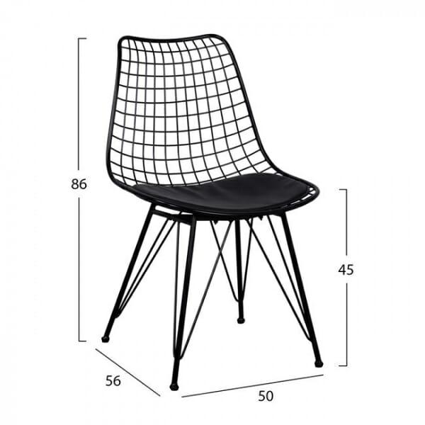 Метален стол с решетъчна конструкция в черен цвят - размери