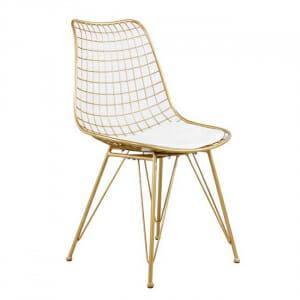 Метален стол с решетъчна конструкция в златист цвят