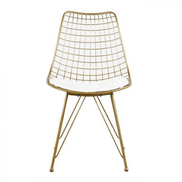 Метален стол с решетъчна конструкция в златист цвят - отпред