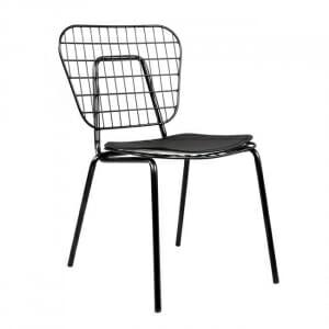 Оригинален метален стол с възглавничка в черно