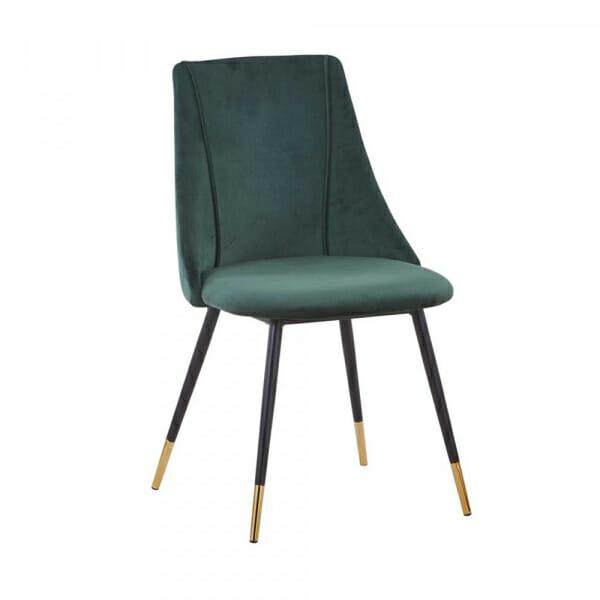 Стол със зелена дамаска и метални крака в черно и златисто