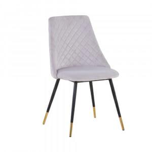 Светлосив трапезен стол с текстилна дамаска и метални крака