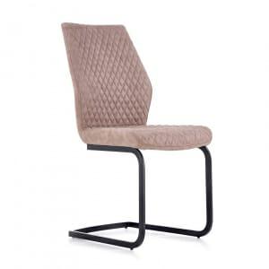Трапезен стол от еко кожа в тъмнобежов цвят