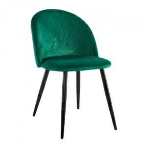 Трапезен стол от кадифе с черни крачета в зелен цвят