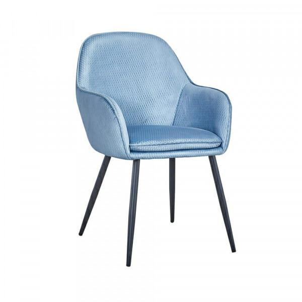 Трапезен стол от текстил с подлакътници (2 цвята) - светлосин