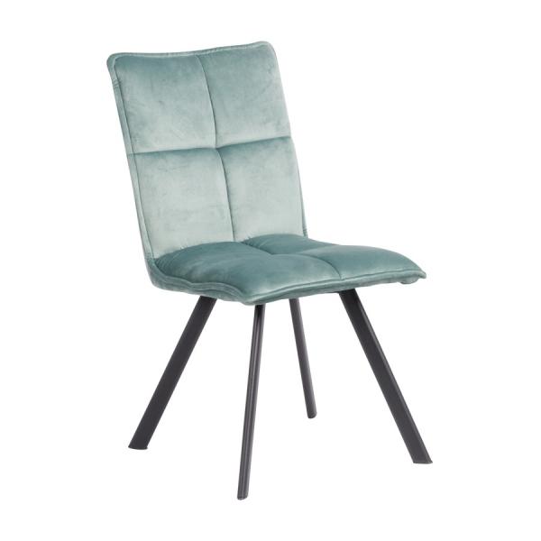 Трапезен стол с дамаска и черни метални крака - резеда