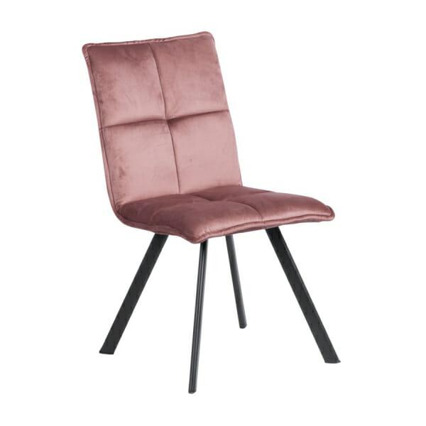 Трапезен стол с дамаска и черни метални крака - розов