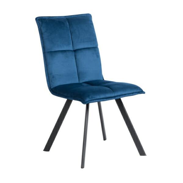 Трапезен стол с дамаска и черни метални крака - син