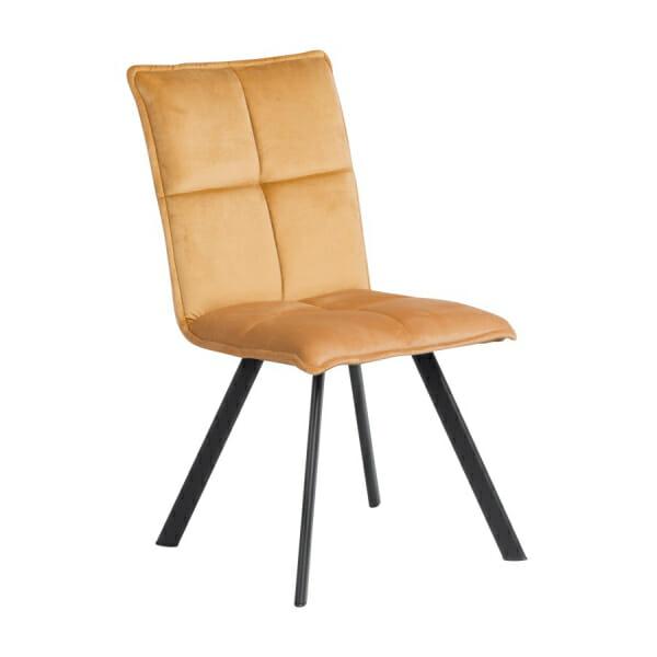Трапезен стол с дамаска и черни метални крака - жълт