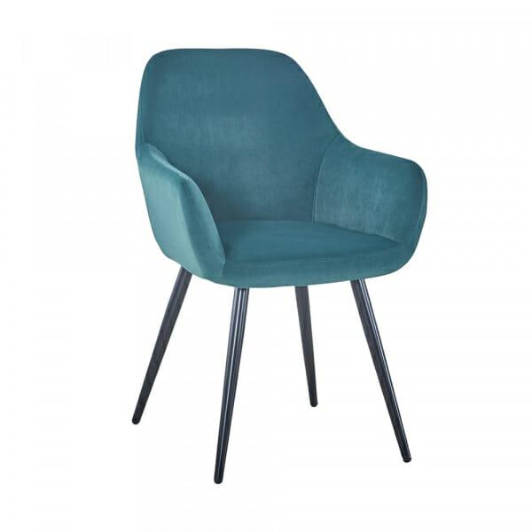 Трапезен стол с текстилна дамаска и метални крака (2 цвята) - зелен