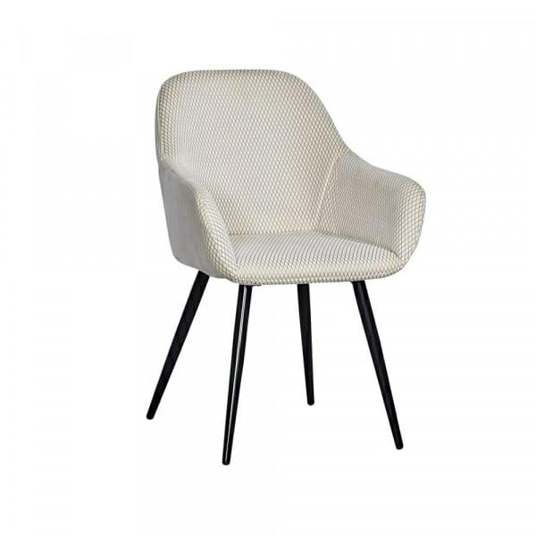 Трапезен стол с текстилна дамаска и метални крака (2 цвята)