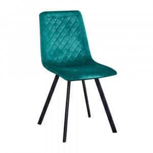Трапезен стол с текстилна дамаска в зелен цвят