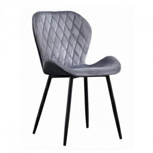 Трапезен стол в сиво кадифе с черни крачета