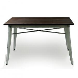 Трапезна маса от метал и дърво в индустриален стил-бял
