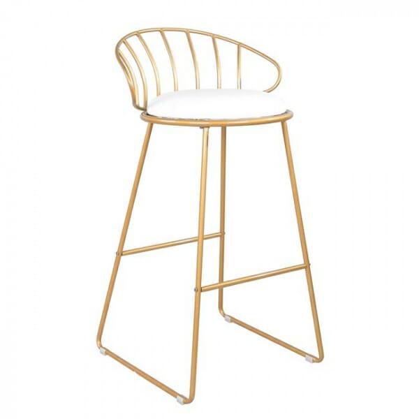 Златист бар стол от метал с бяла седалка