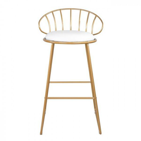 Златист бар стол от метал с бяла седалка - отпред