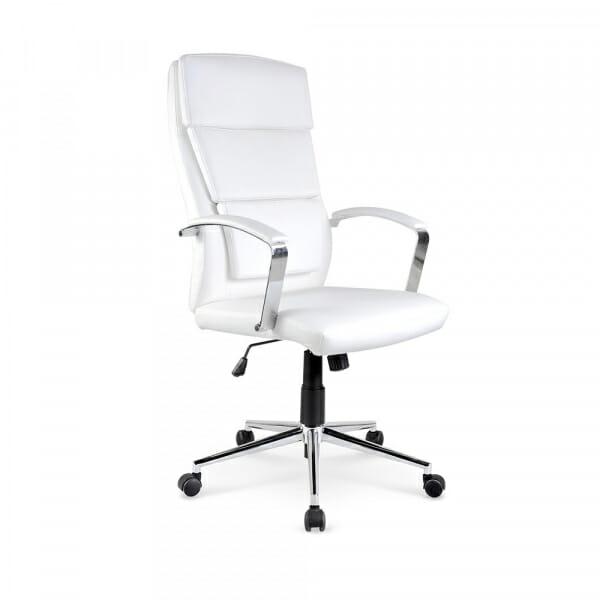 Бял офис стол от метал и еко кожа Аурес